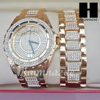 TECHNO PAVE ICED SET ICED OUT RAPPER 14K GOLD PT WATCH ICED OUT BRACELET SET L28