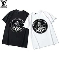 LV Louis Vuitton 2019 early spring new space astronauts print men and women round neck short-sleeved T-shirt