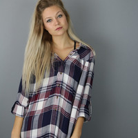 Poppy Plaid Top