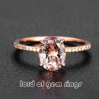 Oval Morganite Engament Ring Pave Diamond Wedding 14k Rose Gold 6x8mm