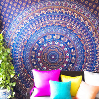 Folkulture Tapestry - Bohemian Wall / Dorm Room Tapestry - Hippy Bedspreads for Bedroom - Indian Elephant Hippie Tapestry Wall Hanging / Beach Throw / Mandala Bedding - Queen Size Boho Mandala (Blue)