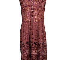 Clarise Womens Summer Dress Lace Up Embroidered Rayon Ezyme Washed Bohemian Sexy Holiday Sundress S/M