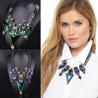 Fashion autumn winter triangle Crystal like Necklace Collarbone Chain a13482