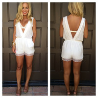 Delicate Deep-V Lace Detail Romper With Pockets - Ivory