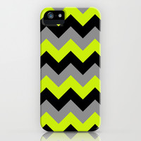 Chevron Silver Lime iPhone & iPod Case by Alice Gosling