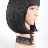Straight Short Hair Bob Wigs 14'' Straight with Flat Bangs Cosplay Wigs for Women Natural As Real Hair