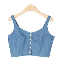 Snap Buttoned Denim Tube Top