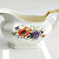 Vintage Limoges Creamer, 1920s Golden Glow Poppies Pattern, Floral, Orange Poppies, Purple and Yellow Flowers.