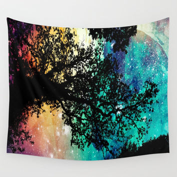 Wall Tapestry | Black Trees Colorful Space| Galaxy Tapestry | Throw Blanket | Indoor / Outdoor| Colorful Wall Art | Wall Hanging | S M L