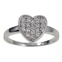 Sterling Silver White CZ Heart Ring