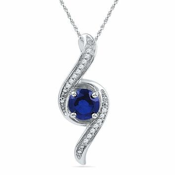 10kt White Gold Women's Round Lab-Created Blue Sapphire Solitaire Diamond Pendant 1.00 Cttw - FREE Shipping (US/CAN)