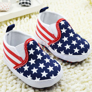 Baby First Walker Shoes Toddler Unisex Boy Girls Star Plaids Print Anti-slip Slip-on Canvas Crib ShoesSM6