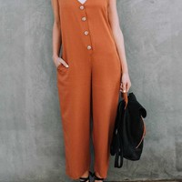 Orange Pockets Single Breasted V-neck Going out Wide Leg Long Jumpsuit