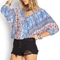 FOREVER 21 Abstract Kimono Top Cream/Blue