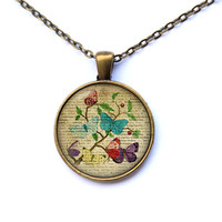 Antique pendant Butterfly necklace Insect jewelry CWAO72-1