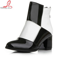 2015 Big Brand Women  Sexy Pointed Toe Thin High Heels Zip Boots Spring Autumn Shoes Women Mixed Color Ankle Boots Plus size