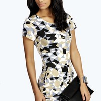 Amelia Geo Print Bodycon Dress