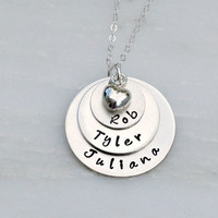 Hand Stamped Jewelry - Three Name Stacker - Sterling Silver Necklace - Heart Necklace