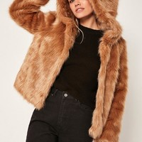 Missguided - Camel Hooded Faux Fur Coat