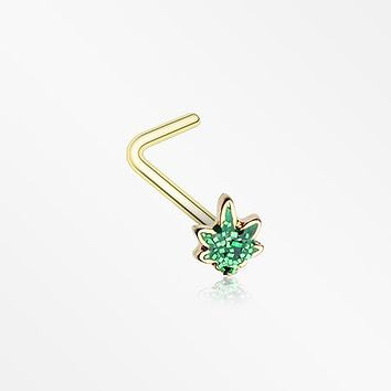 Golden Glitter Sparkle Cannabis L-Shaped Nose Ring