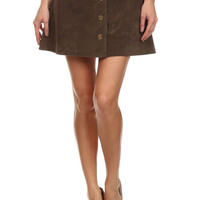 Boho Brown Faux Suede Button Skirt