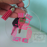 Jeep Hair Don't Care Key chain 2 Inch - Key chain - Perfect Gift - Neon  - Glitter - Keys - Pattern - Jeep Life - Personalized - Jeep Hair