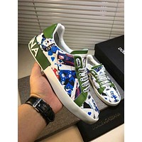 Dolce&Gabbana D&G Printed Leather White Green Sneakers