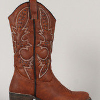 Women's Embroidered Studded Almond Toe Cowboy Mid Calf Boot