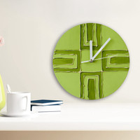Hipster Clock, Retro GREEN WALL CLOCK, Green Clock, Unique Wall clock, Modern Wall Clock, Green Home Decor