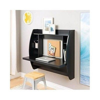 Floating Desk Wall Mounted Home Office Black Storage Space Saving Contemporary