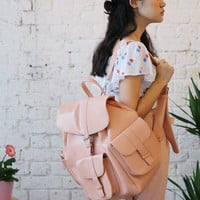 Leather Chunky Pocket Backpack Coral