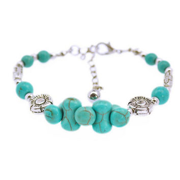 Tibetan Silver Color Turquoise Bracelets Bangles Inlay Roundness Bead Nation Bohemian Bracelets For Women Fine Jewelry SM6