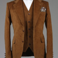 Cordifornia Handmade Slim Fit 3 Piece Suit in Rust/Brown 42 R Monkey Suits