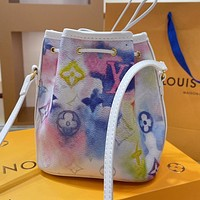 LV Louis Vuitton Gradient Color Letter Print Bucket Bag Backpack Messenger Bag