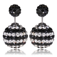 Mise en Gum Tee Style Tribal Earrings  - Crystal Drip Black & White