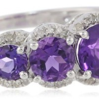 Sterling Silver Amethyst and Diamond Single Row Graduated Ring (1/6 cttw, I-J Color, I2-I3 Clarity), Size 7