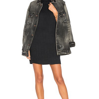 TORTOISE Chitra Oversized Trucker Jacket in Black Aged | REVOLVE