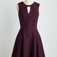 Mid-length Sleeveless A-line Moxie Must-Have Dress in Plum