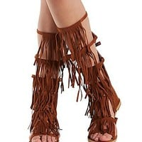 Qupid Fringed Gladiator Sandals