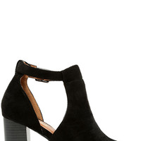 Sharri Black Suede Peep-Toe Booties