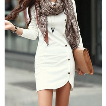 Stylish Buttons Design Long Sleeve Ladies White Pullover - Dress
