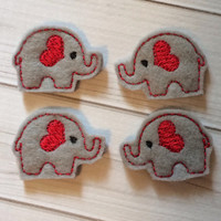 Elephant Felties - set of 4, for crafts, hair clips, bows