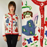 90s Ugly Sweater Valentines Tacky Vintage MED Heart Hipster Floral Rosette Felt Applique Cardigan White Red holiday Party Angel Oversize