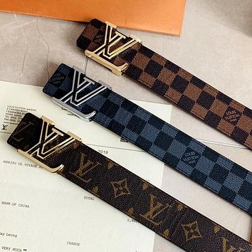 LV New Simple Hollow Letter Buckle Belt