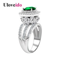 Uloveido Women's Wedding Rings Engagement Ring with Stone Big Green Crystal Zirconia Jewelry Accessories Gifts for Women RJ213