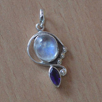 Beautiful Unique Amethyst Pendant,Handcrafted Sterling Silver Amethyst and Moonstone Pendant,Natural Stone Gift  Dangle Pendant Necklace NEW
