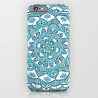Summer Bloom - floral doodle pattern in turquoise & white iPhone & iPod Case by Micklyn