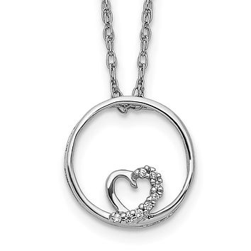 14k White Gold Circle and Heart 18 inch Necklace