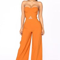 Calm And Collected Strapless Jumpsuit - Rust