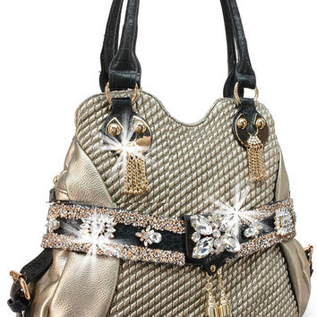 * Quilted Rhinestone Accented Handbag In Pewter